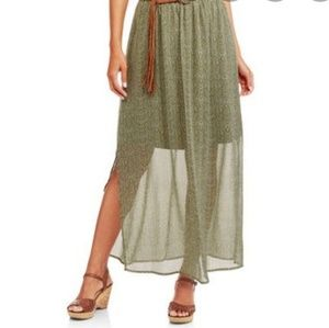 Faded glory women's green short long skirt